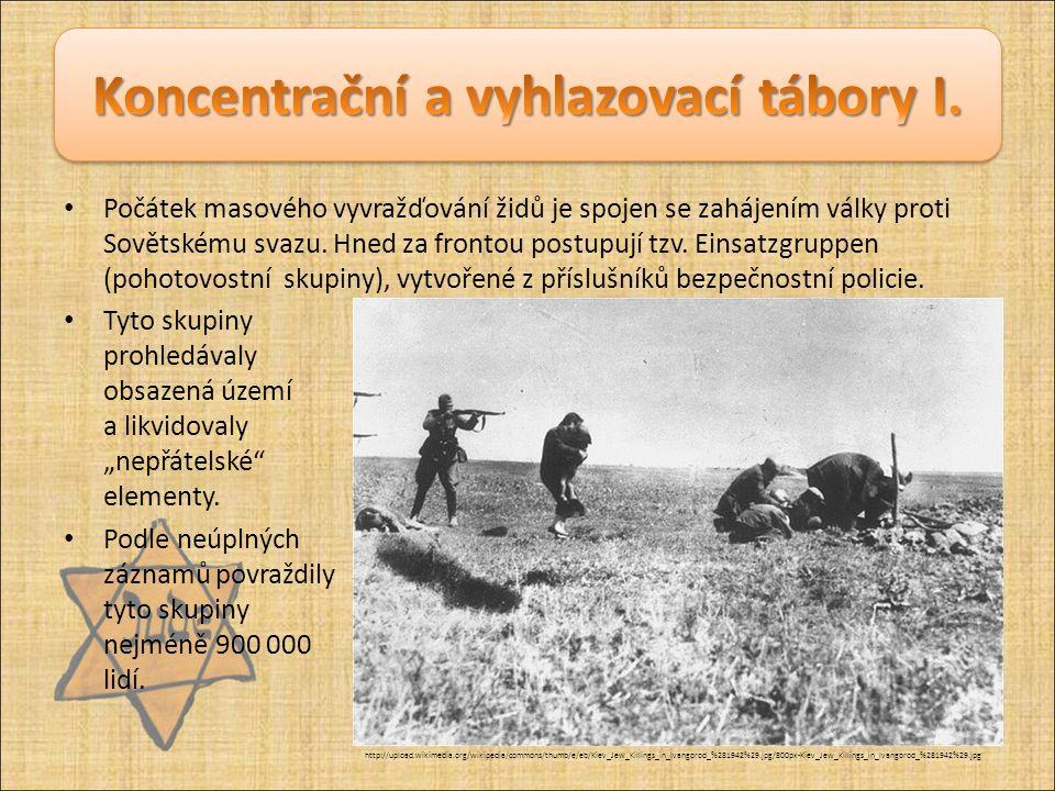 Počátek masového vyvražďování židů je spojen se zahájením války proti Sovětskému svazu. Hned za frontou postupují tzv. Einsatzgruppen (pohotovostní sk