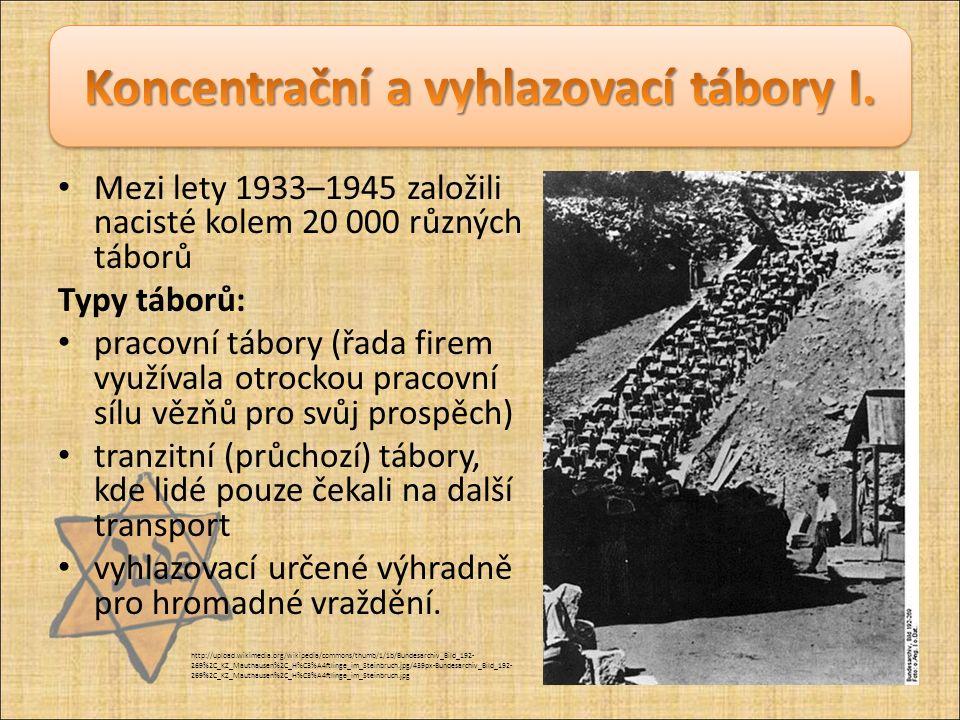 Mezi lety 1933–1945 založili nacisté kolem 20 000 různých táborů Typy táborů: pracovní tábory (řada firem využívala otrockou pracovní sílu vězňů pro s