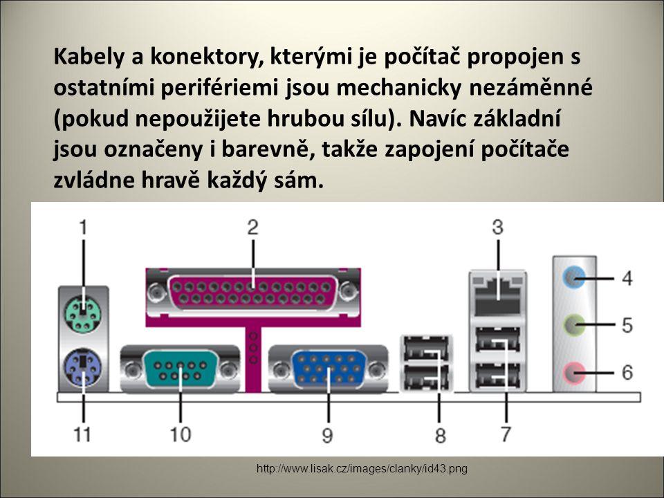 Kabely a konektory, kterými je počítač propojen s ostatními perifériemi jsou mechanicky nezáměnné (pokud nepoužijete hrubou sílu).