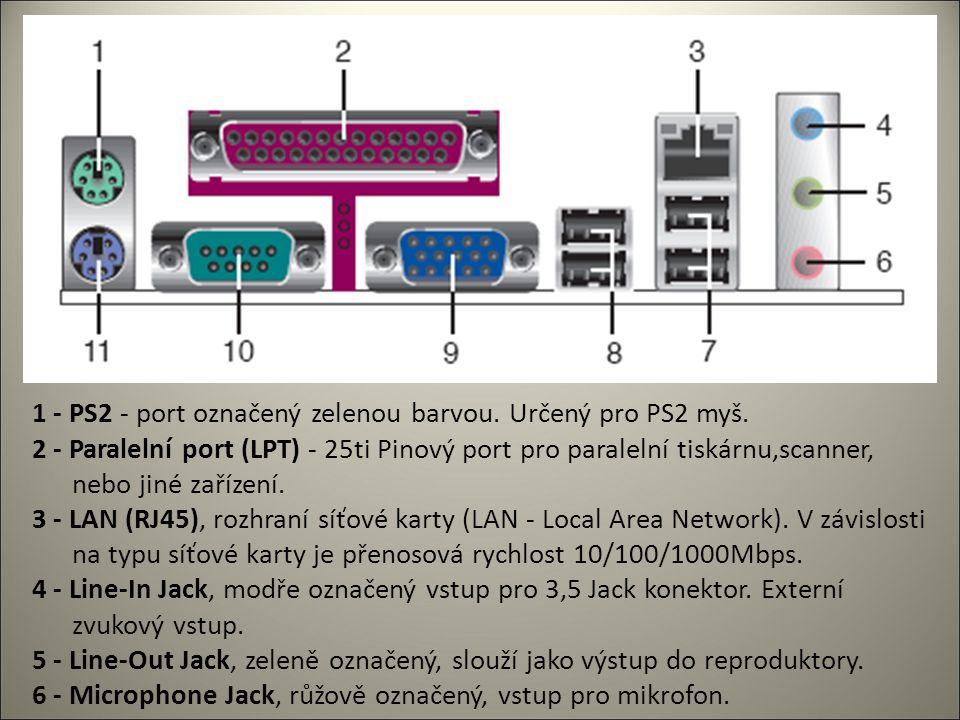 7 - USB porty, Universal serial bus (USB), 4 Pinové vstupy pro USB zařízení (tiskárny, scannery apod.) 8 - USB porty, Universal serial bus (USB), 4 Pinové vstupy pro USB zařízení (tiskárny, scannery apod.) 9 - VGA port pro připojení VGA, nebo LCD monitoru.