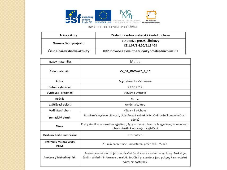 Název školyZákladní škola a mateřská škola Libchavy Název a číslo projektu EU peníze pro ZŠ Libchavy CZ.1.07/1.4.00/21.3403 Číslo a název klíčové aktivityIII/2 Inovace a zkvalitnění výuky prostřednictvím ICT Název materiálu: Malba Číslo materiálu:VY_32_INOVACE_4_20 Autor:Mgr.