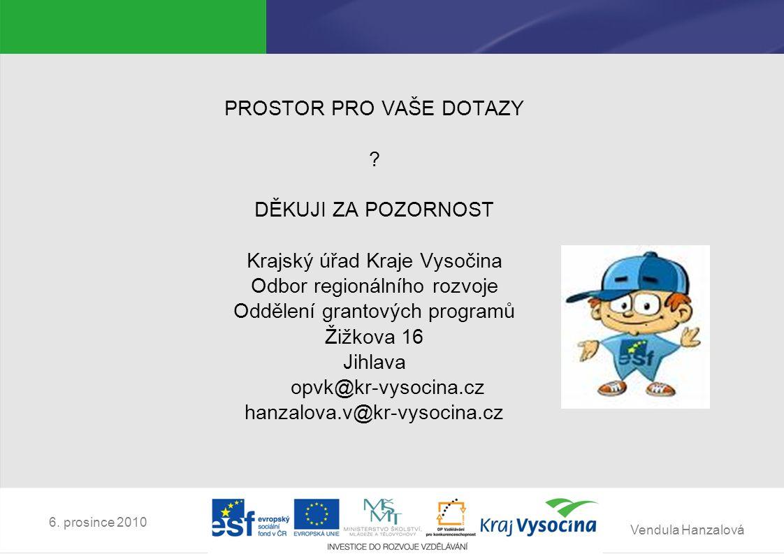Vendula Hanzalová 6. prosince 2010 PROSTOR PRO VAŠE DOTAZY .
