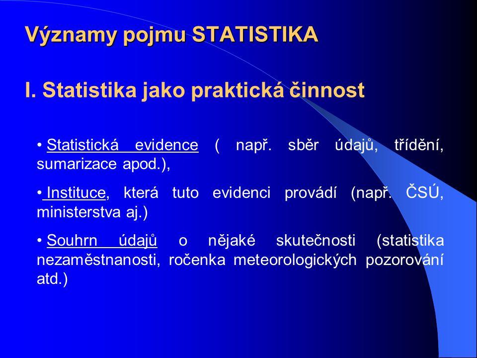 Významy pojmu STATISTIKA I. Statistika jako praktická činnost Statistická evidence ( např.