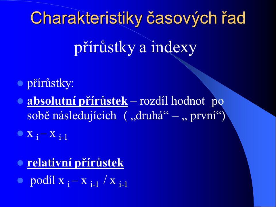 """Charakteristiky časových řad přírůstky: absolutní přírůstek – rozdíl hodnot po sobě následujících ( """"druhá – """" první ) x i – x i-1 relativní přírůstek podíl x i – x i-1 / x i-1 přírůstky a indexy"""