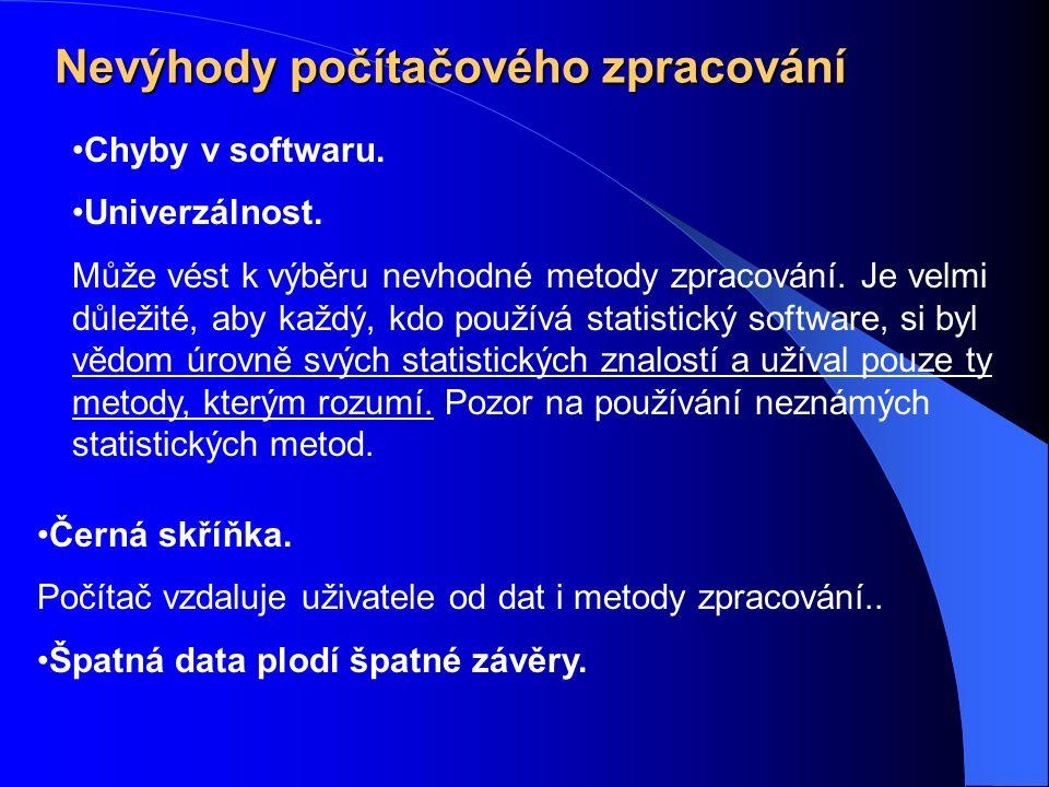 Nevýhody počítačového zpracování Chyby v softwaru.
