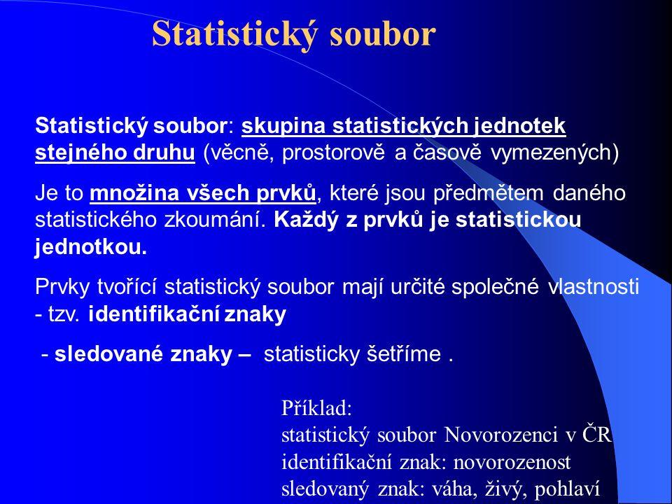Statistický soubor: skupina statistických jednotek stejného druhu (věcně, prostorově a časově vymezených) Je to množina všech prvků, které jsou předmětem daného statistického zkoumání.