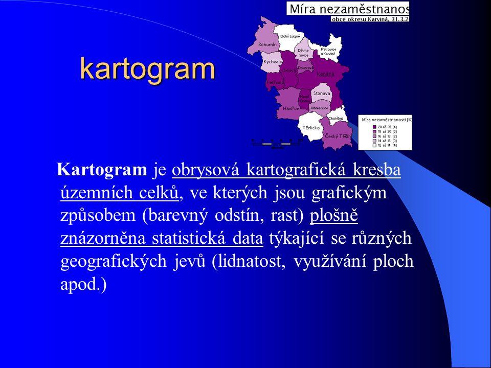 kartogram Kartogram je obrysová kartografická kresba územních celků, ve kterých jsou grafickým způsobem (barevný odstín, rast) plošně znázorněna statistická data týkající se různých geografických jevů (lidnatost, využívání ploch apod.)