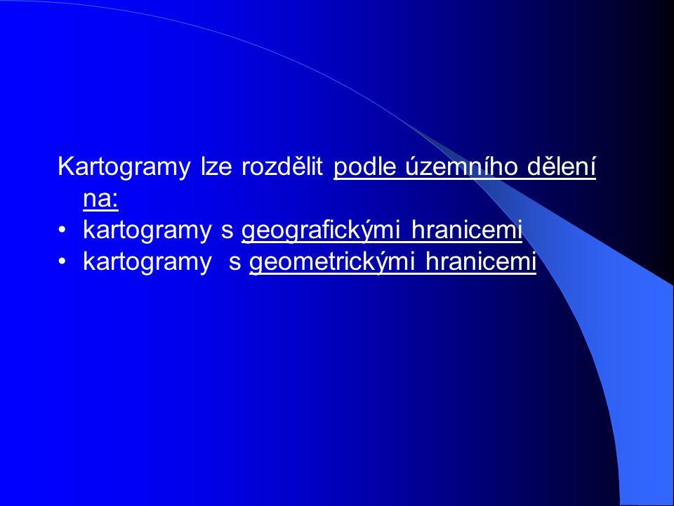 Kartogramy lze rozdělit podle územního dělení na: kartogramy s geografickými hranicemi kartogramy s geometrickými hranicemi