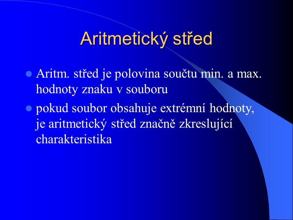 Aritmetický střed Aritm. střed je polovina součtu min.