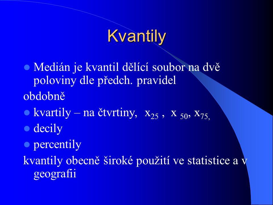 Kvantily Medián je kvantil dělící soubor na dvě poloviny dle předch.