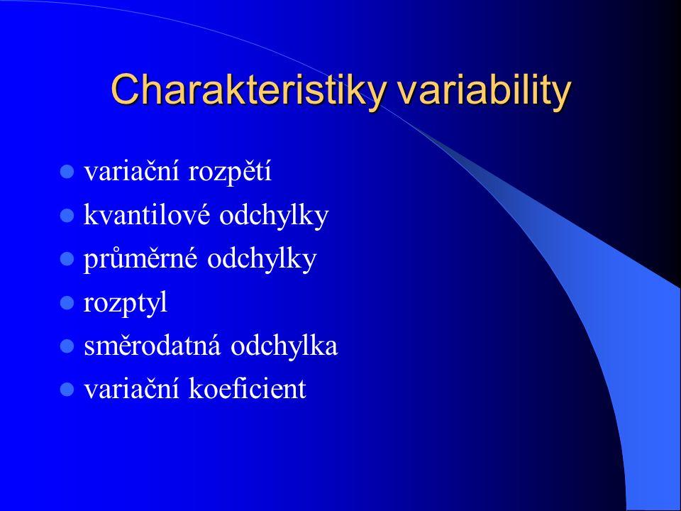 Charakteristiky variability variační rozpětí kvantilové odchylky průměrné odchylky rozptyl směrodatná odchylka variační koeficient