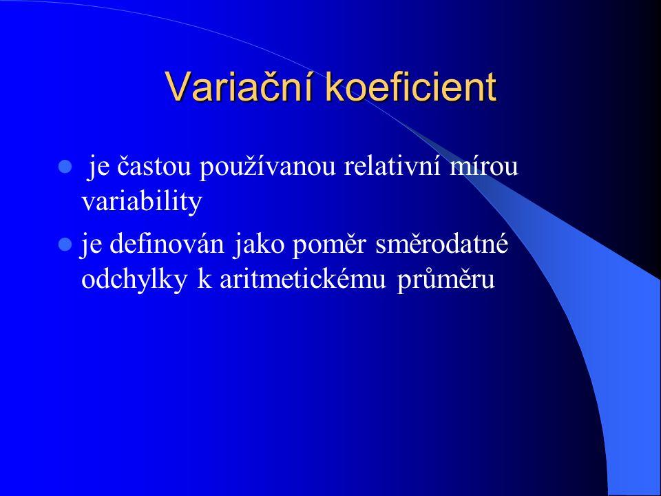 Variační koeficient je častou používanou relativní mírou variability je definován jako poměr směrodatné odchylky k aritmetickému průměru