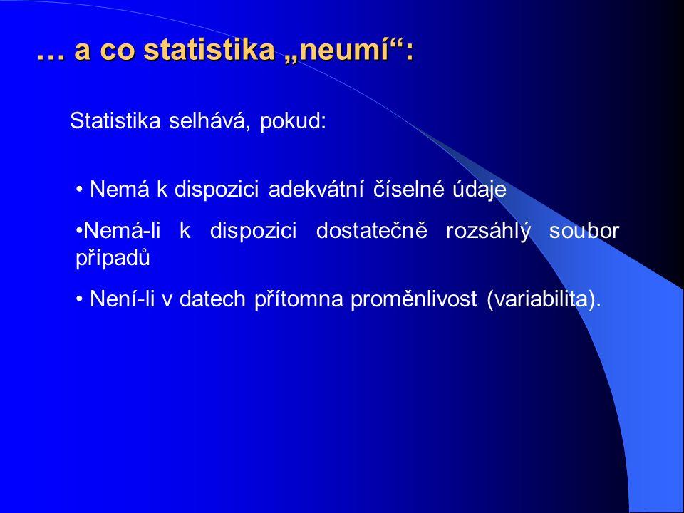 """… a co statistika """"neumí : Nemá k dispozici adekvátní číselné údaje Nemá-li k dispozici dostatečně rozsáhlý soubor případů Není-li v datech přítomna proměnlivost (variabilita)."""