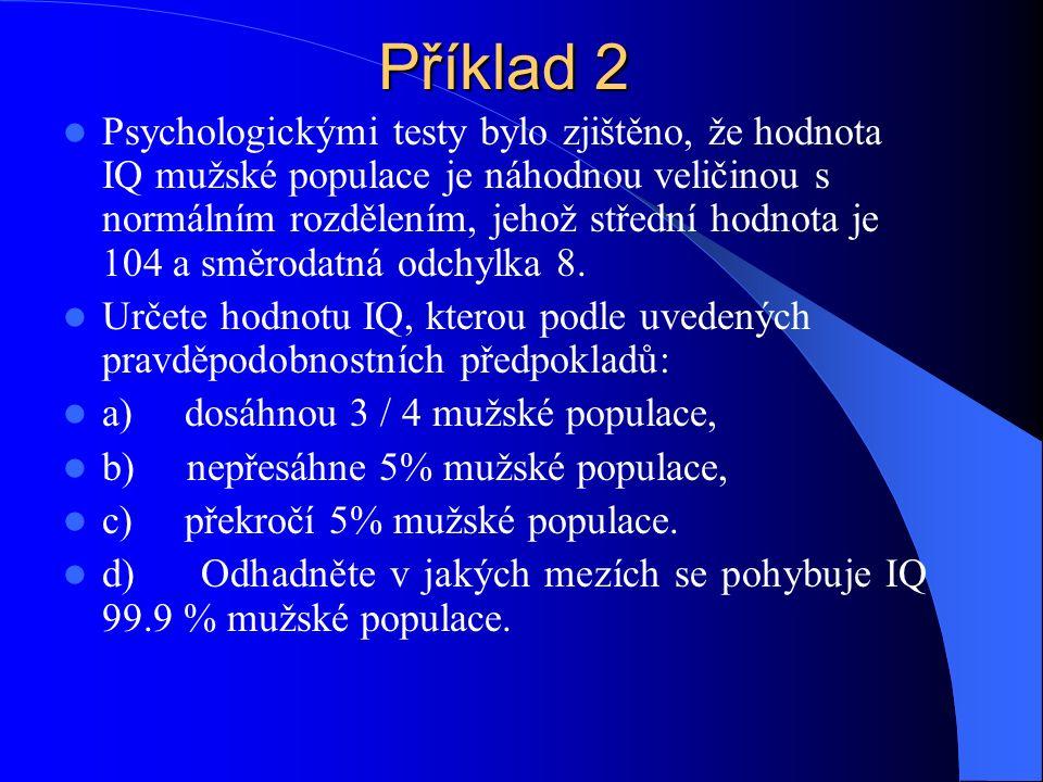 Příklad 2 Psychologickými testy bylo zjištěno, že hodnota IQ mužské populace je náhodnou veličinou s normálním rozdělením, jehož střední hodnota je 104 a směrodatná odchylka 8.