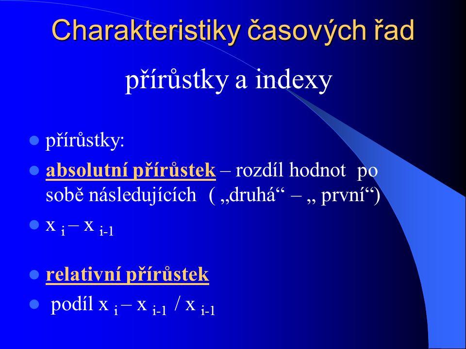 """Charakteristiky časových řad přírůstky: absolutní přírůstek – rozdíl hodnot po sobě následujících ( """"druhá"""" – """" první"""") x i – x i-1 relativní přírůste"""