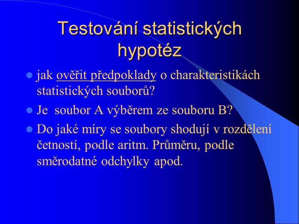 Testování statistických hypotéz jak ověřit předpoklady o charakteristikách statistických souborů? Je soubor A výběrem ze souboru B? Do jaké míry se so