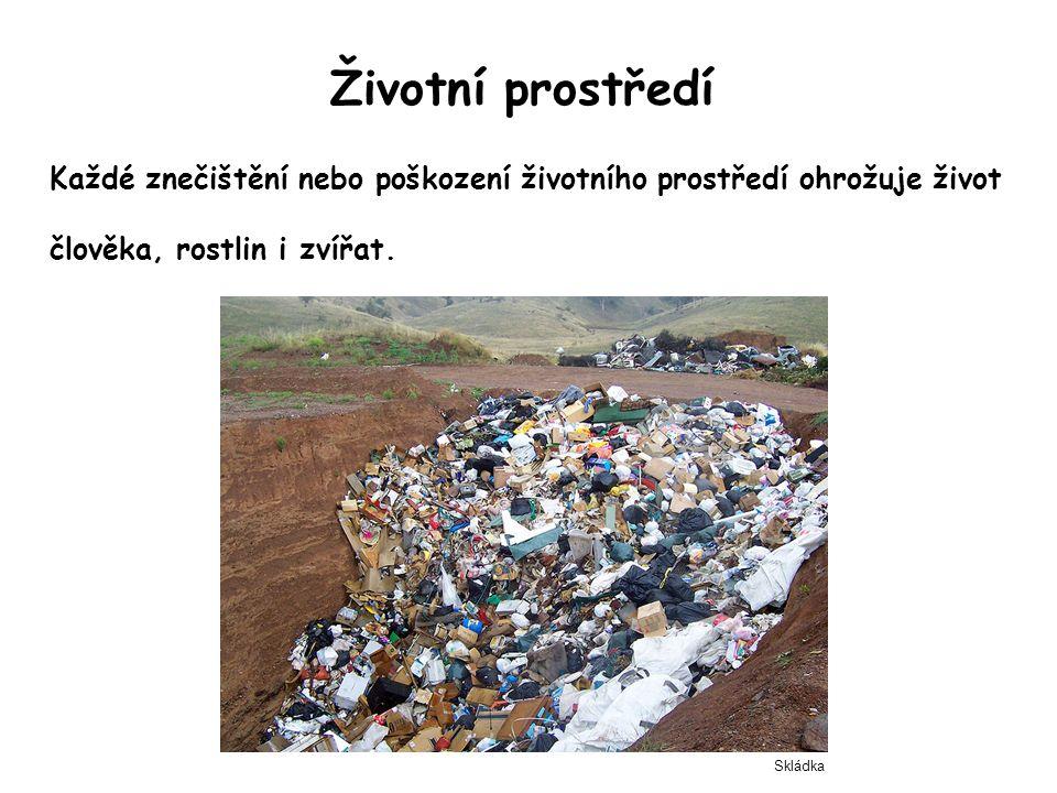 Životní prostředí Každé znečištění nebo poškození životního prostředí ohrožuje život člověka, rostlin i zvířat. Skládka
