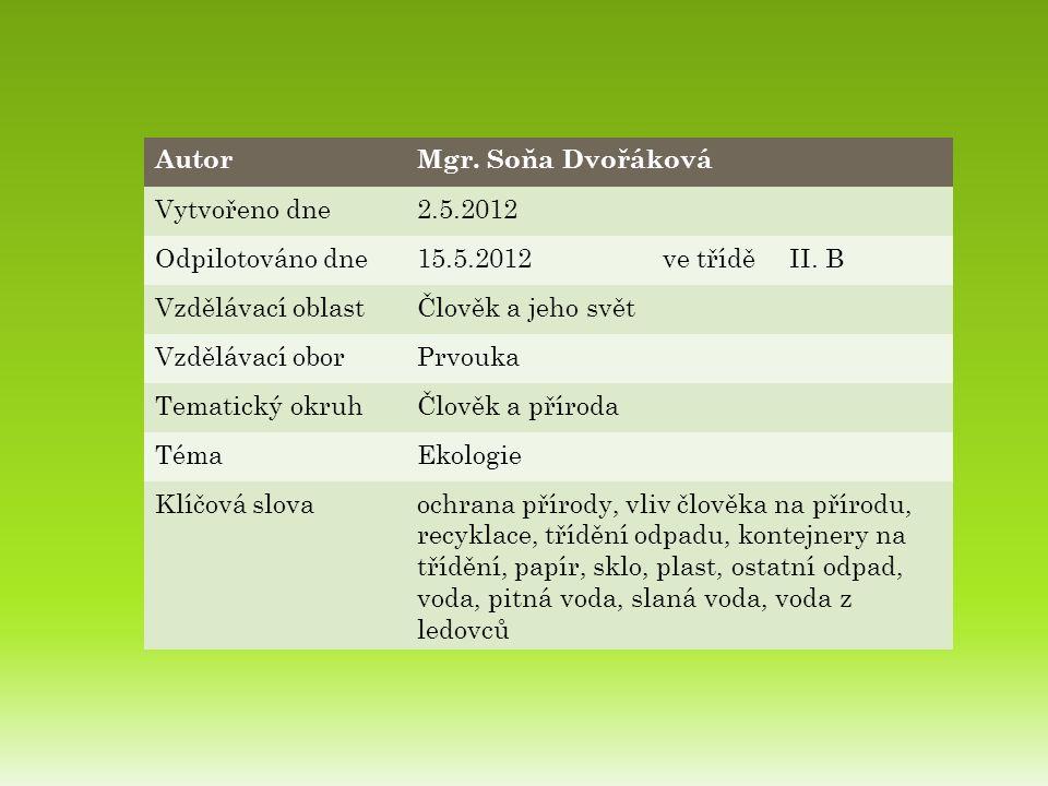 AutorMgr. Soňa Dvořáková Vytvořeno dne2.5.2012 Odpilotováno dne15.5.2012ve tříděII.