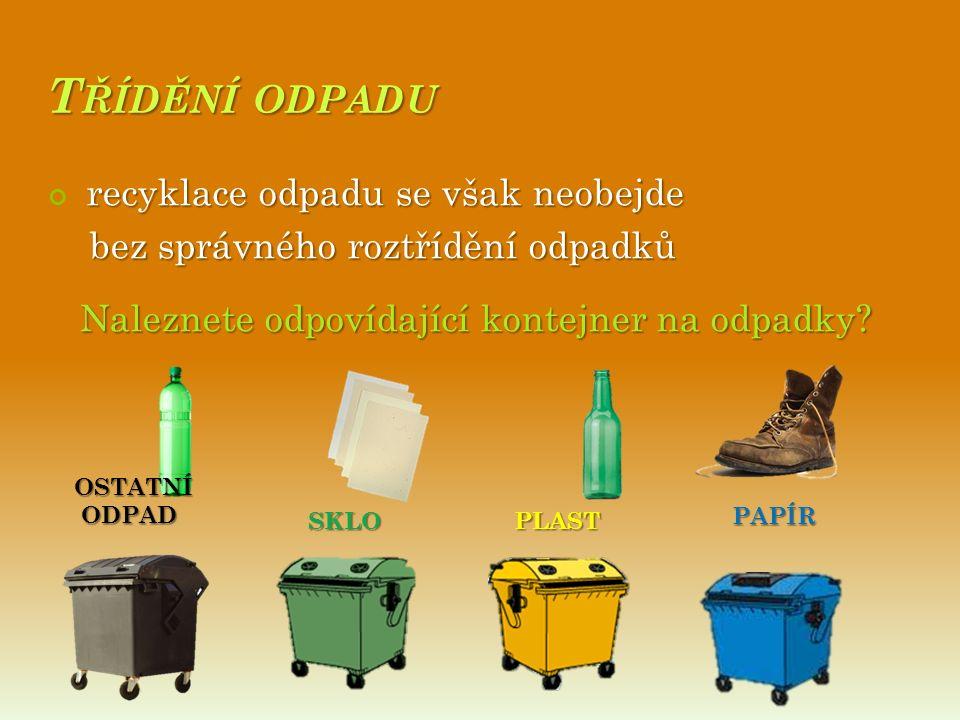 T ŘÍDĚNÍ ODPADU recyklace odpadu se však neobejde bez správného roztřídění odpadků bez správného roztřídění odpadků Naleznete odpovídající kontejner na odpadky.
