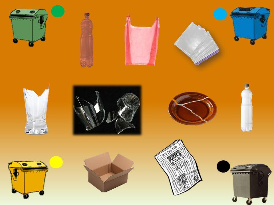 Sklo: Sklo: barevné sklo, láhve od nápojů, skleněné nádoby, skleněné střepy keramika, porcelán, zářivky, kovové uzávěry lahví, znečištěné láhve a nádoby Papír: noviny, časopisy, reklamní letáky, knihy, sešity, krabice, kartón, papírové obaly (např.