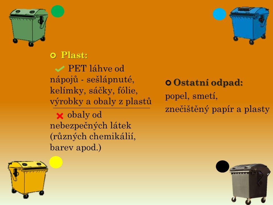 Ostatní odpad: popel, smetí, znečištěný papír a plasty Plast: Plast: PET láhve od nápojů - sešlápnuté, kelímky, sáčky, fólie, výrobky a obaly z plastů obaly od nebezpečných látek (různých chemikálií, barev apod.)