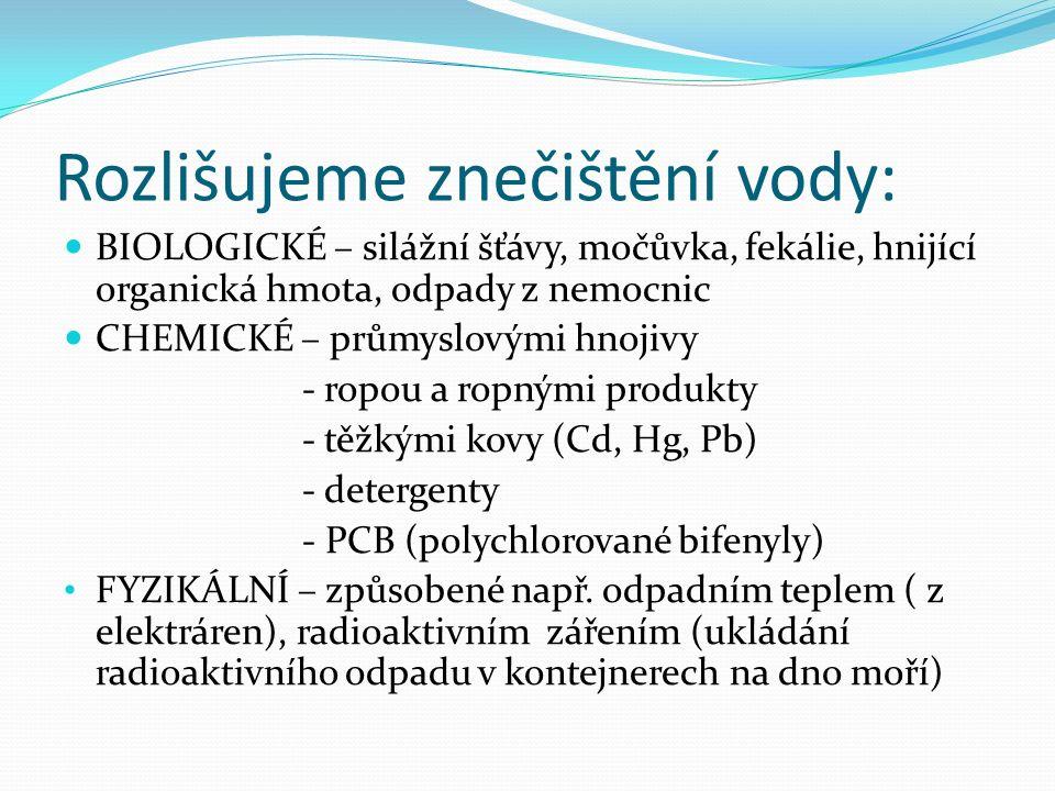 BIOLOGICKÉ – silážní šťávy, močůvka, fekálie, hnijící organická hmota, odpady z nemocnic CHEMICKÉ – průmyslovými hnojivy - ropou a ropnými produkty - těžkými kovy (Cd, Hg, Pb) - detergenty - PCB (polychlorované bifenyly) FYZIKÁLNÍ – způsobené např.