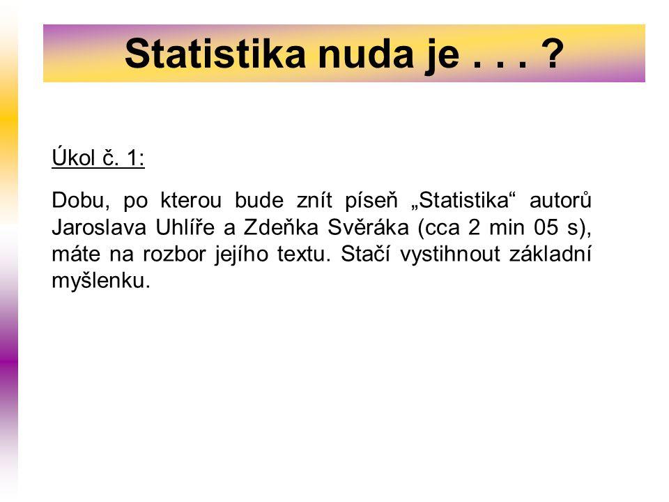 Statistika nuda je... Úkol č.