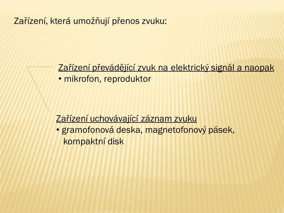 Zařízení, která umožňují přenos zvuku: Zařízení převádějící zvuk na elektrický signál a naopak mikrofon, reproduktor Zařízení uchovávající záznam zvuk