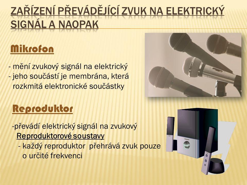 Mikrofon - mění zvukový signál na elektrický - jeho součástí je membrána, která rozkmitá elektronické součástky Reproduktor -převádí elektrický signál