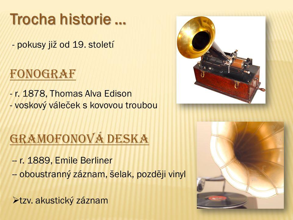 Trocha historie … - pokusy již od 19. století Fonograf - r. 1878, Thomas Alva Edison - voskový váleček s kovovou troubou Gramofonová deska -- r. 1889,