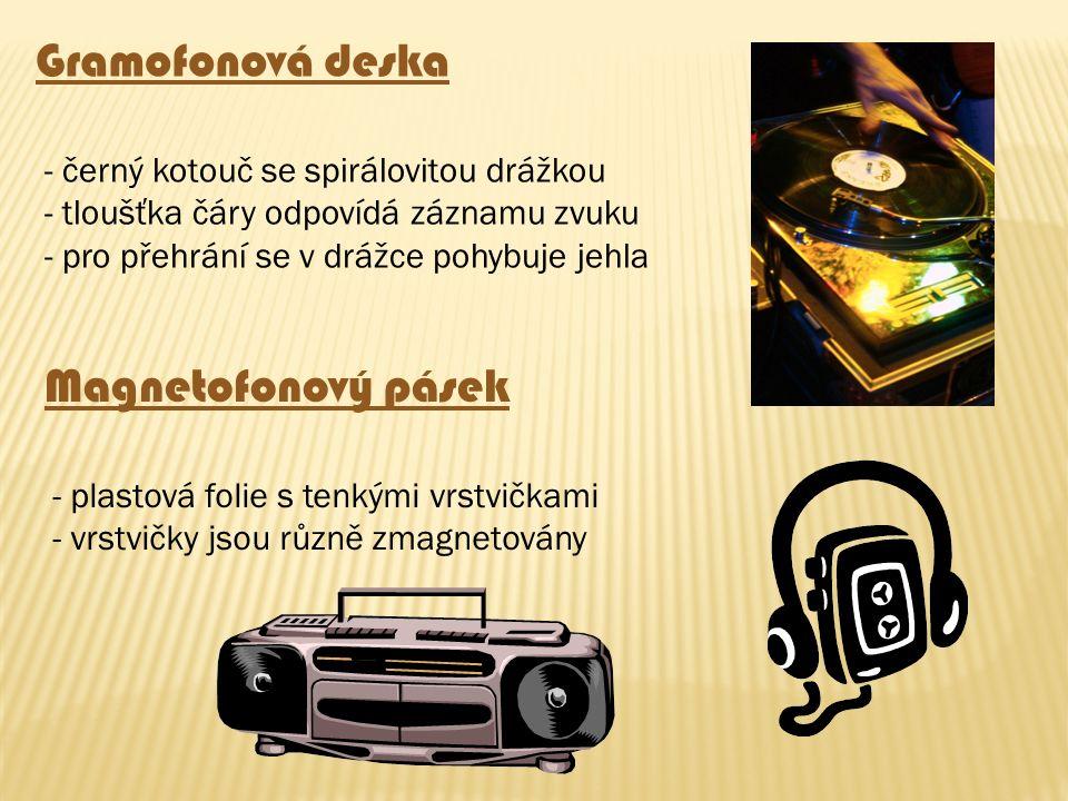 Gramofonová deska - černý kotouč se spirálovitou drážkou - tloušťka čáry odpovídá záznamu zvuku - pro přehrání se v drážce pohybuje jehla Magnetofonov