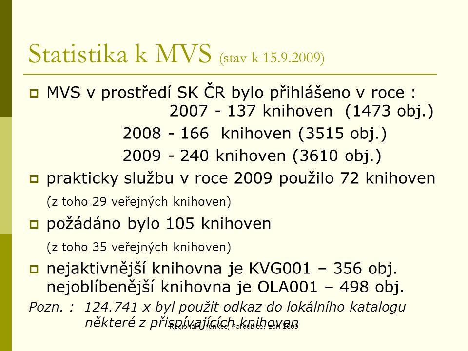 Statistika k MVS (stav k 15.9.2009)  MVS v prostředí SK ČR bylo přihlášeno v roce : 2007 - 137 knihoven (1473 obj.) 2008 - 166 knihoven (3515 obj.) 2009 - 240 knihoven (3610 obj.)  prakticky službu v roce 2009 použilo 72 knihoven (z toho 29 veřejných knihoven)  požádáno bylo 105 knihoven (z toho 35 veřejných knihoven)  nejaktivnější knihovna je KVG001 – 356 obj.