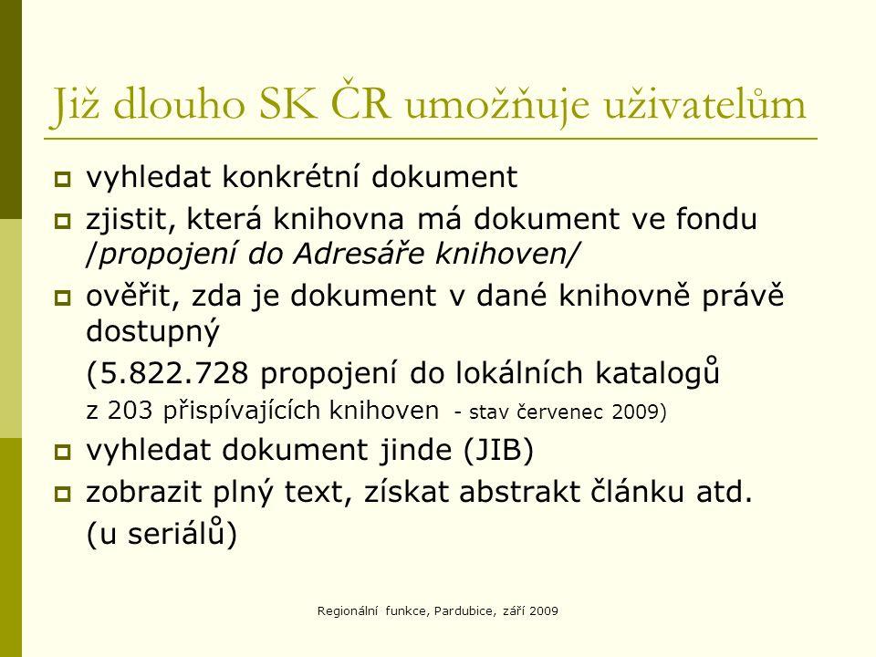 Regionální funkce, Pardubice, září 2009 Již dlouho SK ČR umožňuje uživatelům  vyhledat konkrétní dokument  zjistit, která knihovna má dokument ve fondu /propojení do Adresáře knihoven/  ověřit, zda je dokument v dané knihovně právě dostupný (5.822.728 propojení do lokálních katalogů z 203 přispívajících knihoven - stav červenec 2009)  vyhledat dokument jinde (JIB)  zobrazit plný text, získat abstrakt článku atd.
