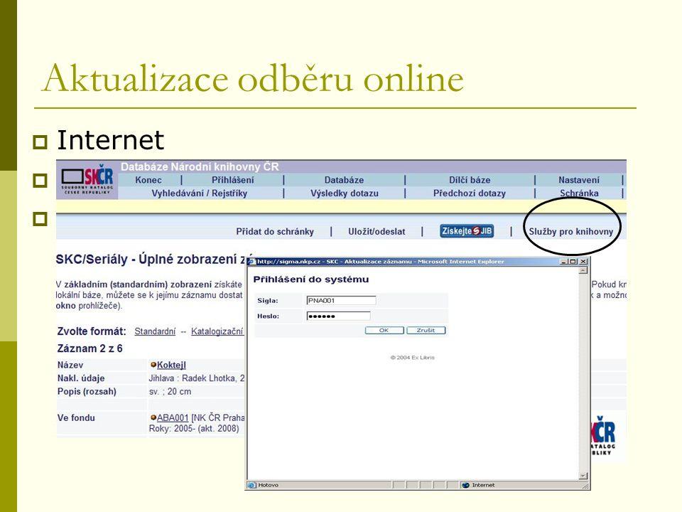 Regionální funkce, Pardubice, září 2009 Aktualizace odběru online  Internet  Vyhledaný konkrétní záznam  Sigla, heslo (proškolení)