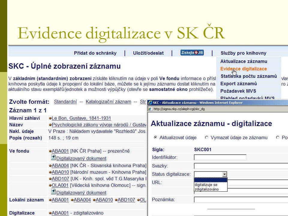 Regionální funkce, Pardubice, září 2009 Evidence digitalizace v SK ČR
