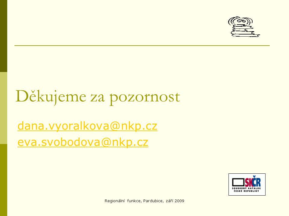 Regionální funkce, Pardubice, září 2009 Děkujeme za pozornost dana.vyoralkova@nkp.cz eva.svobodova@nkp.cz