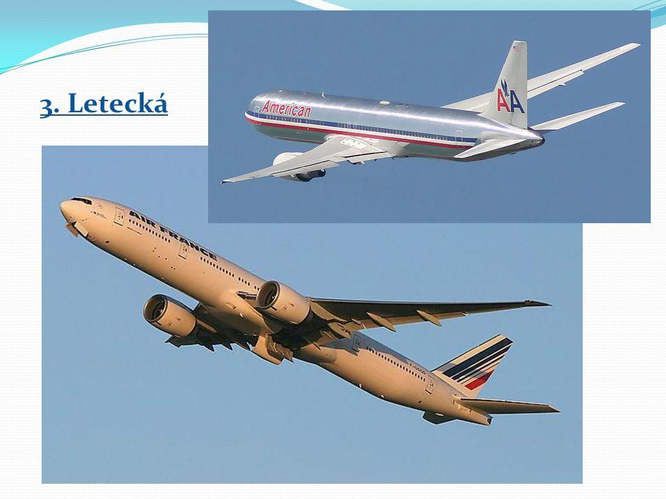 3. Letecká → vnitrostátní – doprava uvnitř státu → mezistátní – mezi státy → mezikontinentální – mezi kontinenty Kosmická doprava