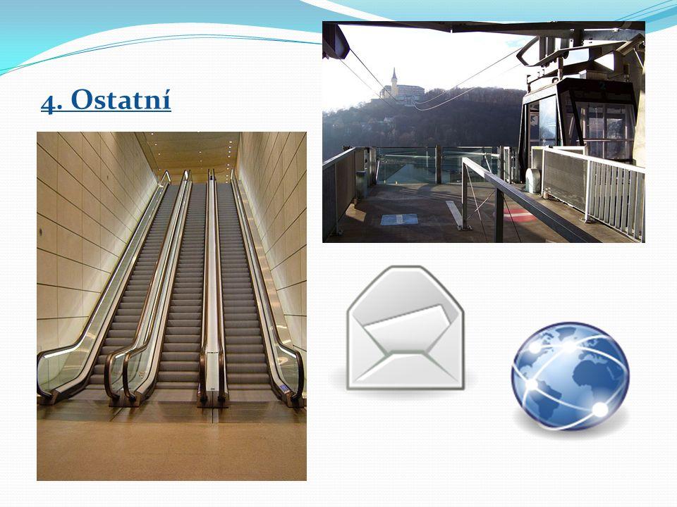4. Ostatní → lanové dráhy → potrubní doprava → eskalátor, výtah → pošty, internet
