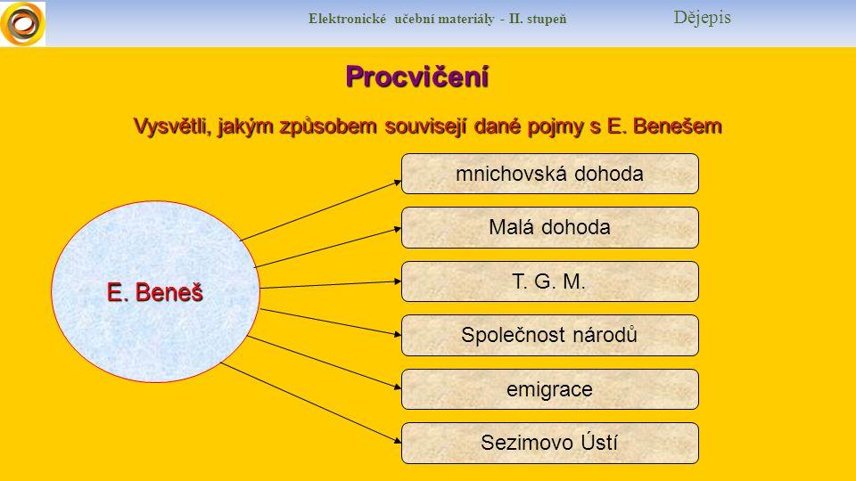 Elektronické učební materiály - II. stupeň Dějepis Procvičení Procvičení Vysvětli, jakým způsobem souvisejí dané pojmy s E. Benešem E. Beneš mnichovsk