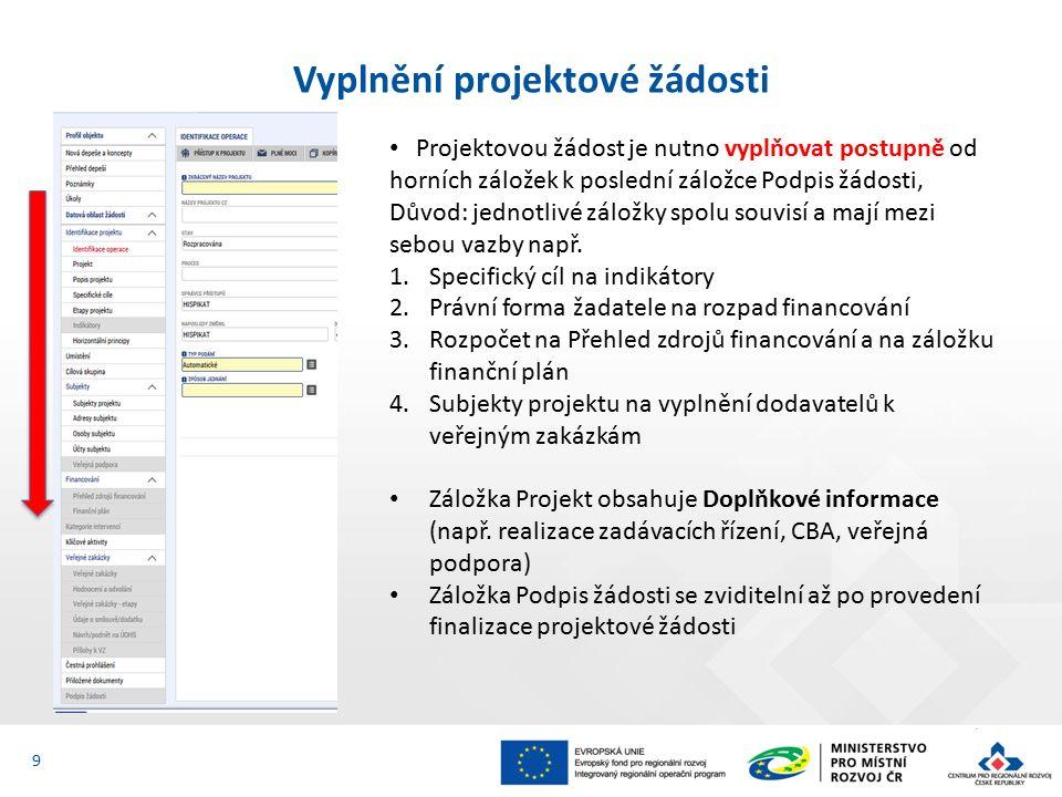 Vyplnění projektové žádosti 9 Projektovou žádost je nutno vyplňovat postupně od horních záložek k poslední záložce Podpis žádosti, Důvod: jednotlivé záložky spolu souvisí a mají mezi sebou vazby např.