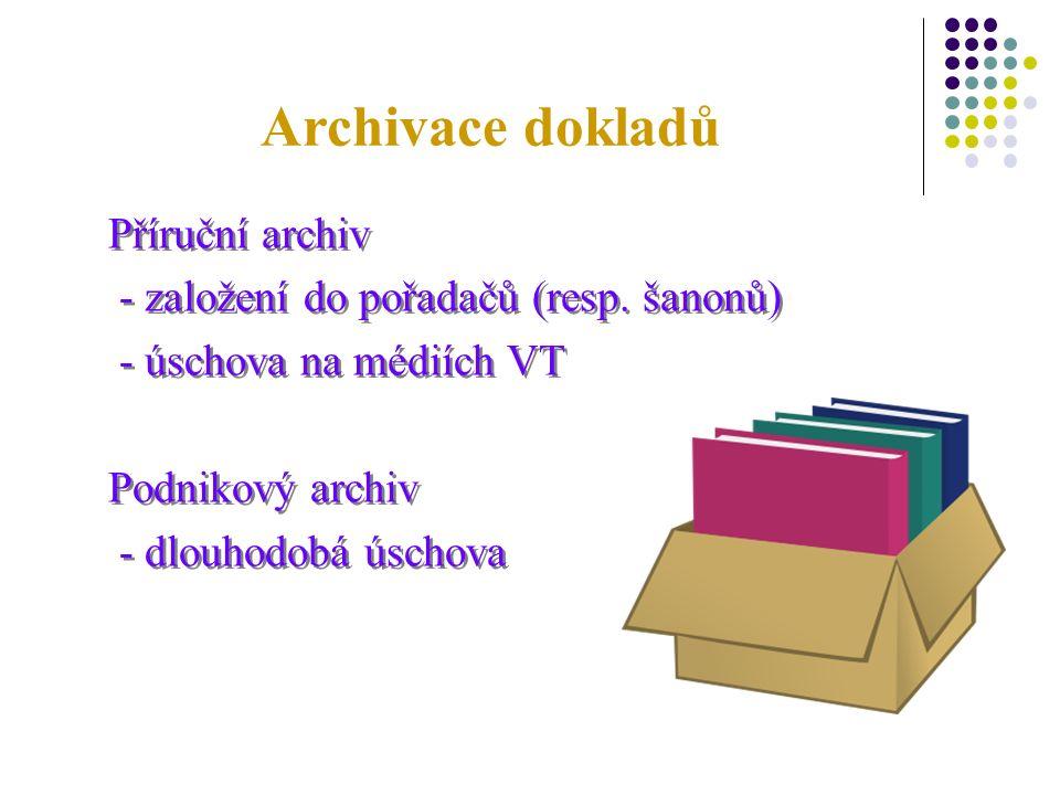Archivace dokladů Příruční archiv - založení do pořadačů (resp.