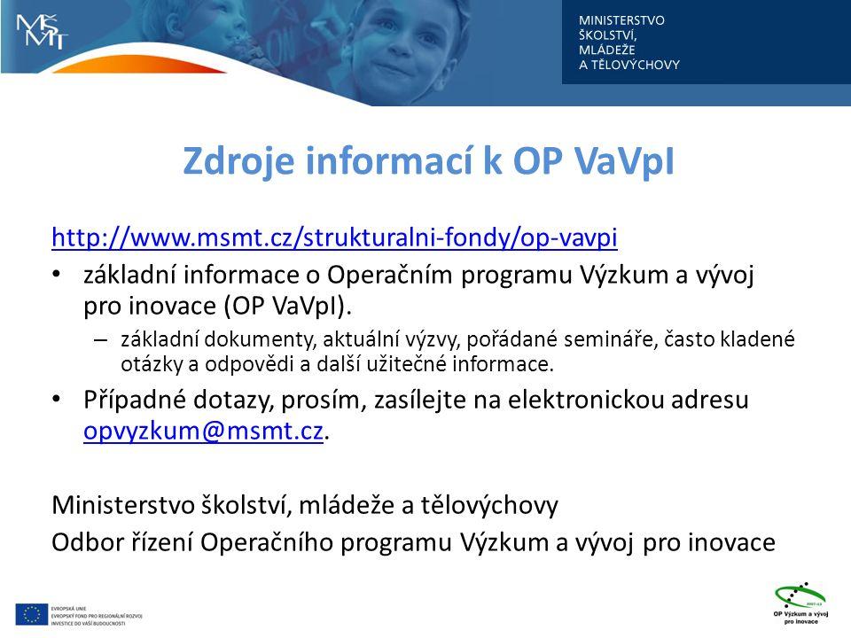 Zdroje informací k OP VaVpI http://www.msmt.cz/strukturalni-fondy/op-vavpi základní informace o Operačním programu Výzkum a vývoj pro inovace (OP VaVp