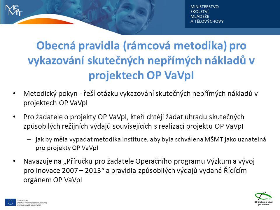 """Metodický pokyn - řeší otázku vykazování skutečných nepřímých nákladů v projektech OP VaVpI Pro žadatele o projekty OP VaVpI, kteří chtějí žádat úhradu skutečných způsobilých režijních výdajů souvisejících s realizací projektu OP VaVpI – jak by měla vypadat metodika instituce, aby byla schválena MŠMT jako uznatelná pro projekty OP VaVpI Navazuje na """"Příručku pro žadatele Operačního programu Výzkum a vývoj pro inovace 2007 – 2013 a pravidla způsobilých výdajů vydaná Řídícím orgánem OP VaVpI"""