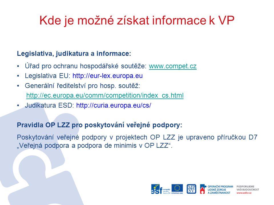 Kde je možné získat informace k VP Legislativa, judikatura a informace: Úřad pro ochranu hospodářské soutěže: www.compet.czwww.compet.cz Legislativa EU: http://eur-lex.europa.eu Generální ředitelství pro hosp.