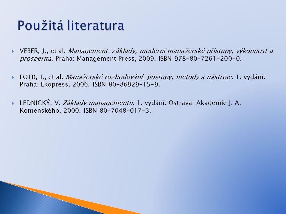  VEBER, J., et al. Management: základy, moderní manažerské přístupy, výkonnost a prosperita.