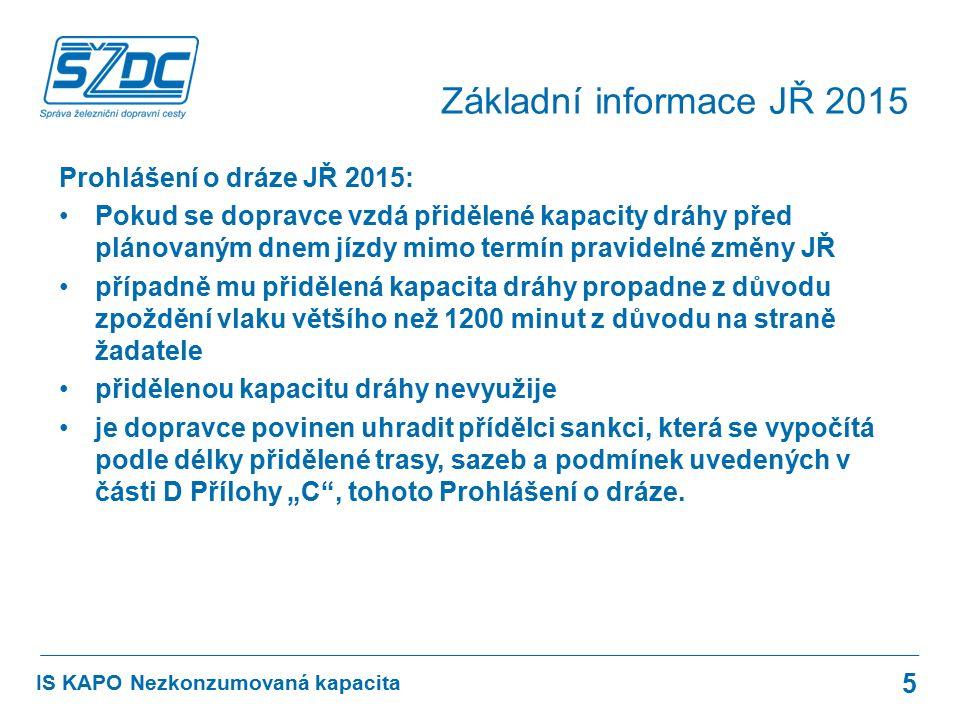 Prohlášení o dráze JŘ 2015: Pokud se dopravce vzdá přidělené kapacity dráhy před plánovaným dnem jízdy mimo termín pravidelné změny JŘ případně mu při
