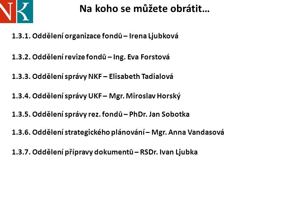 Na koho se můžete obrátit… 1.3.1. Oddělení organizace fondů – Irena Ljubková 1.3.2.