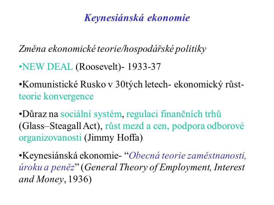Keynesiánská ekonomie Změna ekonomické teorie/hospodářské politiky NEW DEAL (Roosevelt)- 1933-37 Komunistické Rusko v 30tých letech- ekonomický růst-