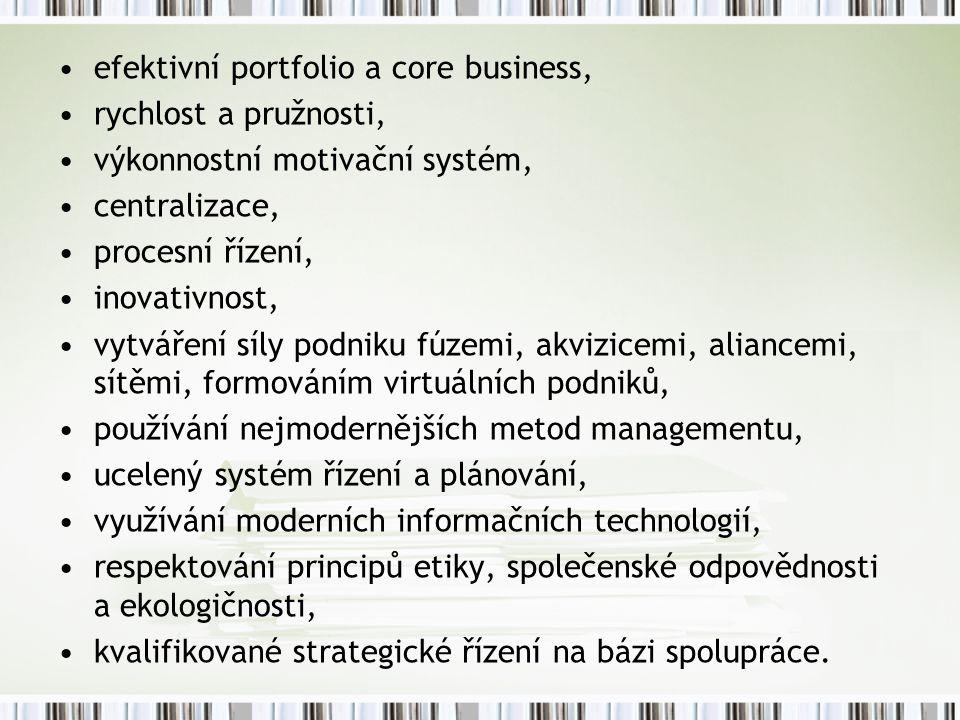 efektivní portfolio a core business, rychlost a pružnosti, výkonnostní motivační systém, centralizace, procesní řízení, inovativnost, vytváření síly podniku fúzemi, akvizicemi, aliancemi, sítěmi, formováním virtuálních podniků, používání nejmodernějších metod managementu, ucelený systém řízení a plánování, využívání moderních informačních technologií, respektování principů etiky, společenské odpovědnosti a ekologičnosti, kvalifikované strategické řízení na bázi spolupráce.