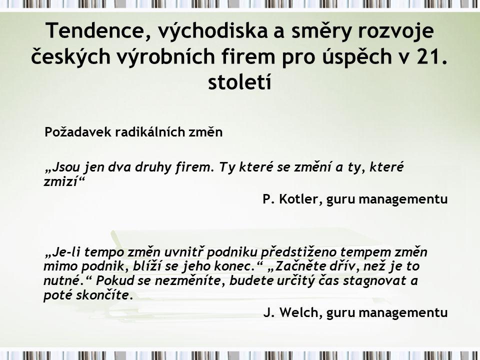 Tendence, východiska a směry rozvoje českých výrobních firem pro úspěch v 21.